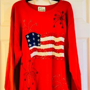 Quicker Factory American Flag 🇺🇸 Sequins Sweater